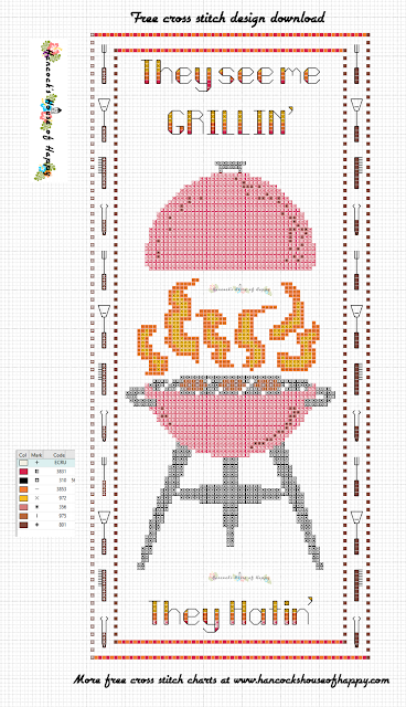 Free Crazy Charcoal Grill BBQ Cross Stitch Chart