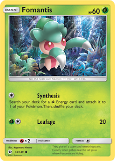 Fomantis Sun and Moon Pokemon Card