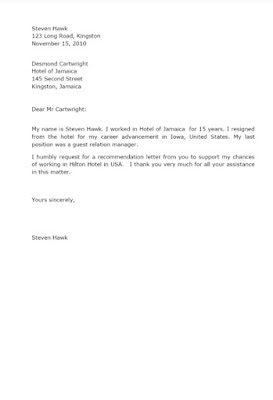 Personal Request for Recommendation Letter Sample