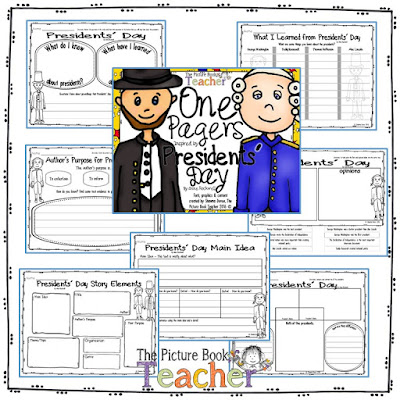 One Pager activities for the book Presidents' Day by Anne Rockwell.