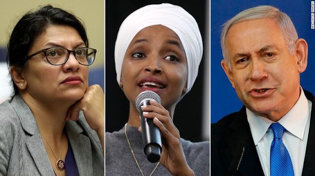 Kiri: Rep. Rashida Tlaib (D-MI); Pusat: Rep. Ilhan Omar (D-MN); Kanan: Perdana Menteri Israel Benjamin Netanyahu