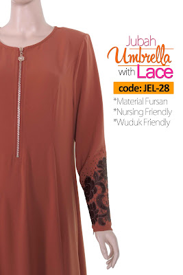 Jubah Umbrella Lace JEL-28 Persian Brown Depan 9
