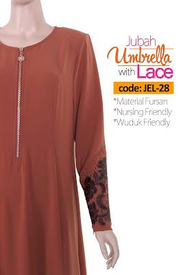 Jubah Umbrella Lace JEL-28 Persian Brown Depan 9