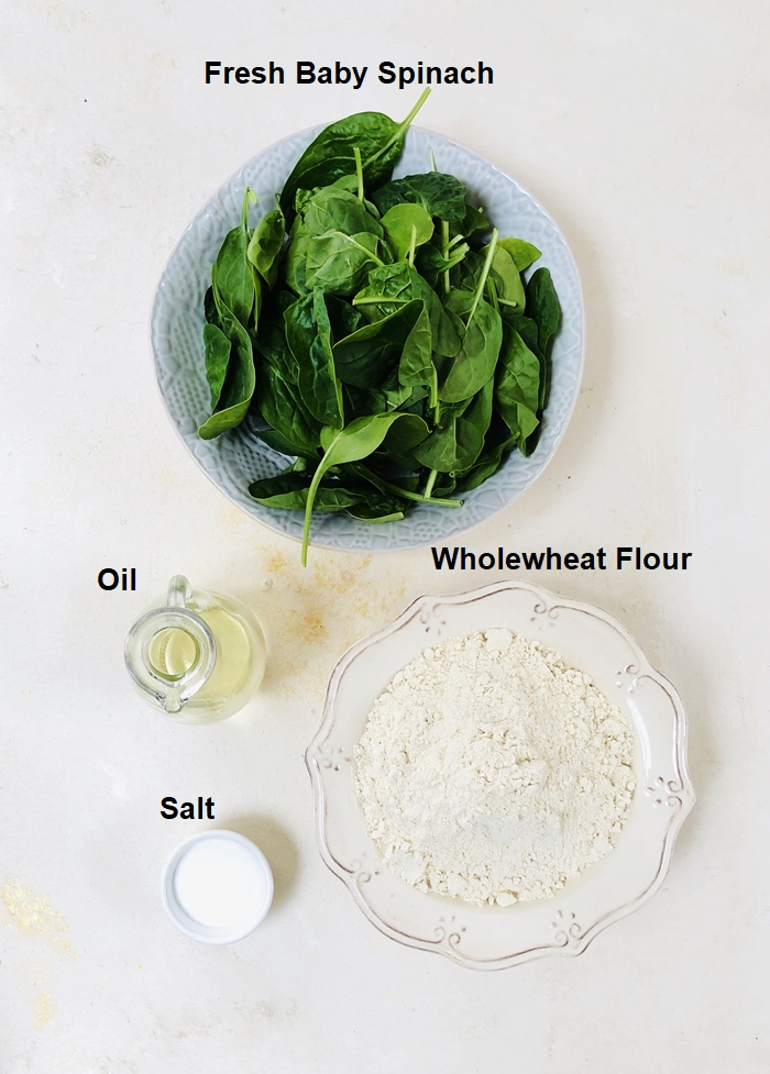 To make spinach roti ingredients on a white backdrop.