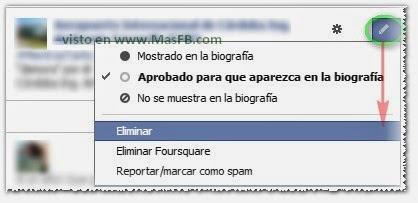 Eliminar desde el Registro de Actividad de Facebook