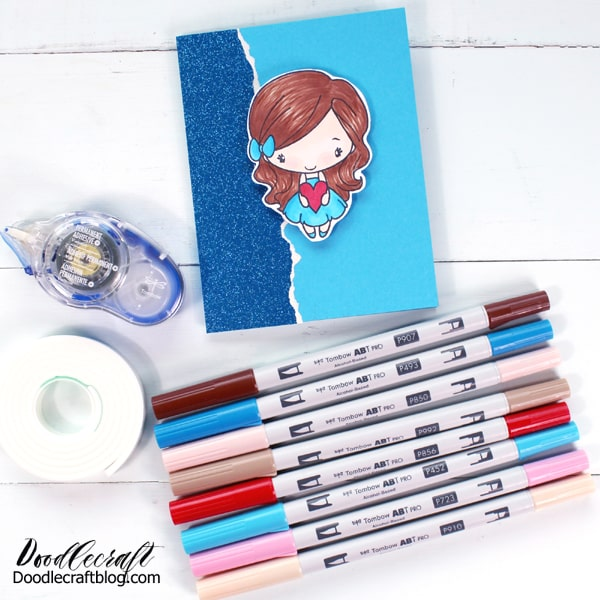 Tombow recently released the ABT PROs, a line of alcohol ink markers and they are fantastic! Alcohol ink markers are amazing. They are not great for hand lettering...but they are excellent for blending. They blend flawlessly with no marker streak lines left behind. They are super pigmented and come in an array of colors. They come in very pale colors too, which is awesome for light skin tones, hair, or just little details.