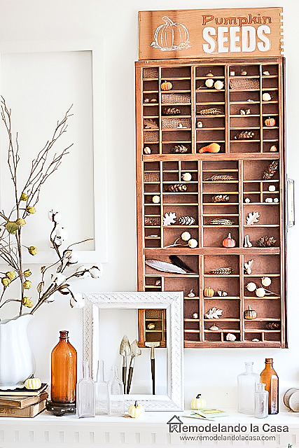 fall decor with antique drawer as wall art