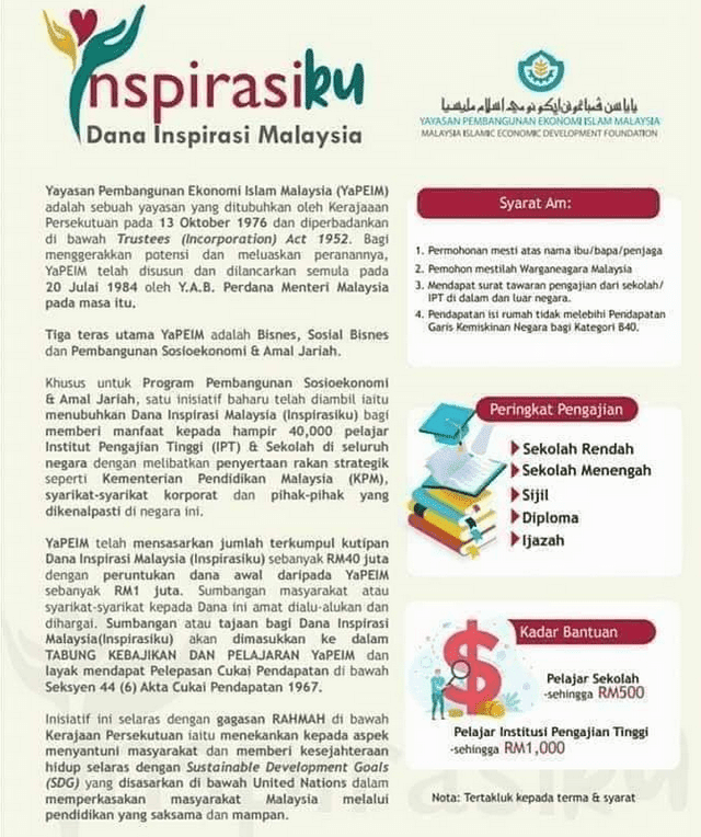 Permohonan Bantuan Sekolah Inspirasiku Yapeim 2020 Secara Online