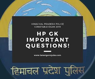 HP Police Constable Exam 2019-Important HP GK Questions