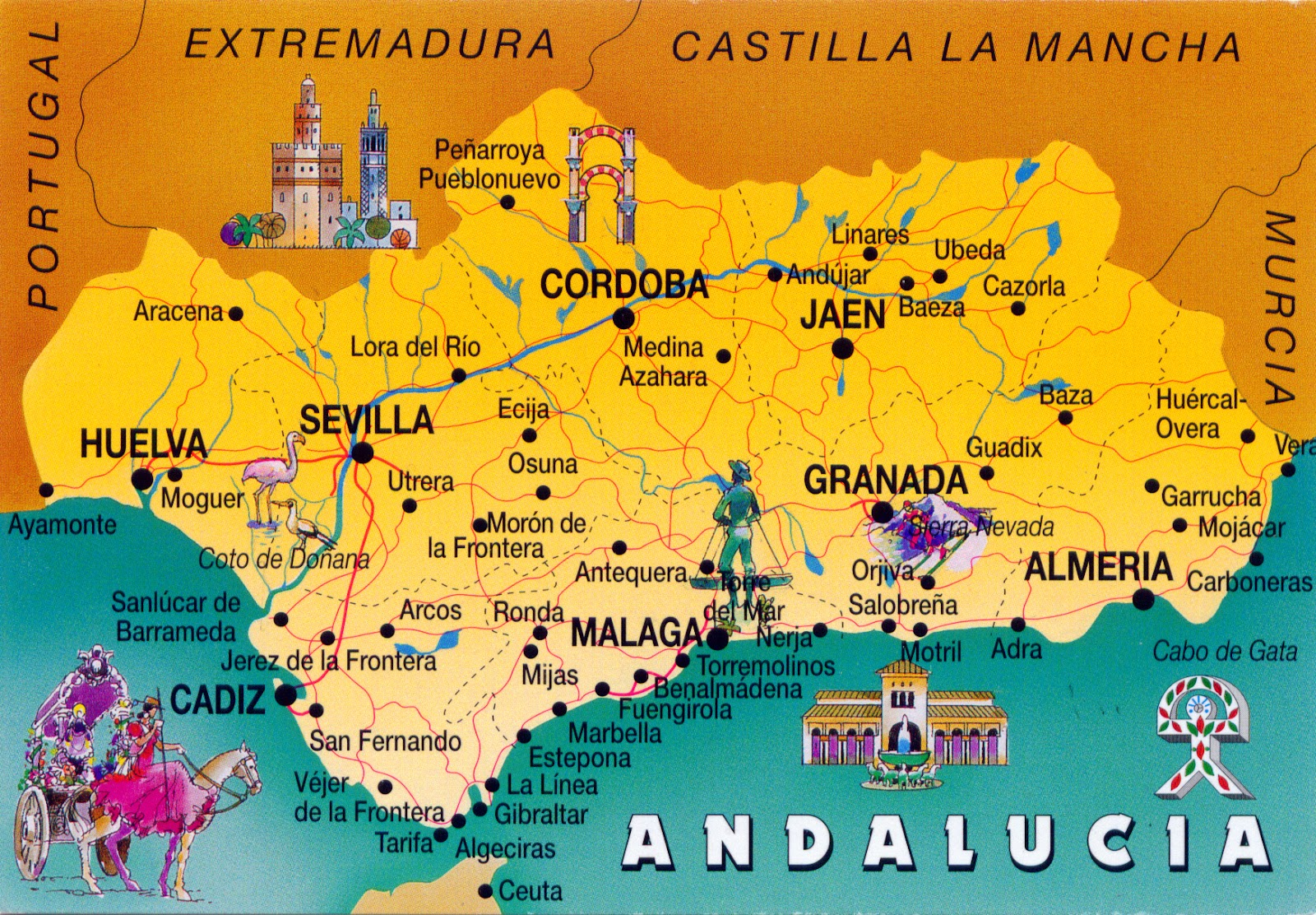 WORLD COME TO MY HOME 0988 SPAIN Andalusia The map of Andalusia