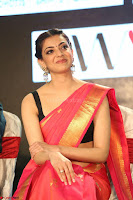 Kajal Aggarwal in Red Saree Sleeveless Black Blouse Choli at Santosham awards 2017 curtain raiser press meet 02.08.2017 057.JPG