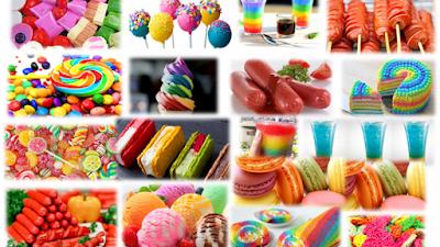 pelbagai jenis makanan yang menggunakan bahan pewarna