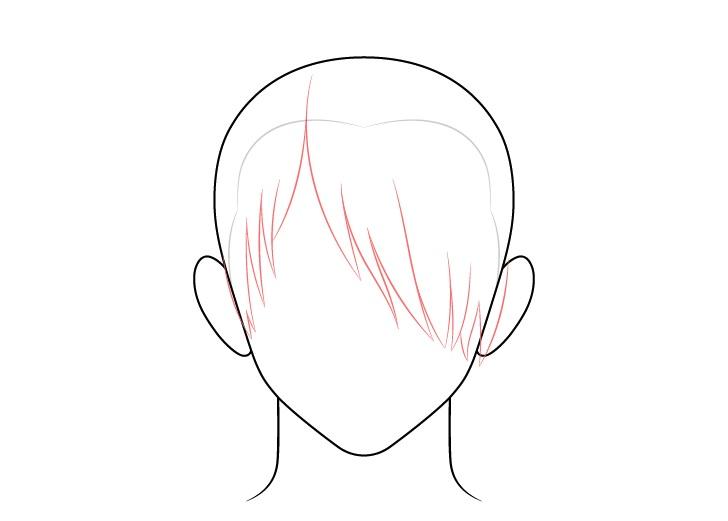 Rambut pria anime di atas gambar depan satu mata