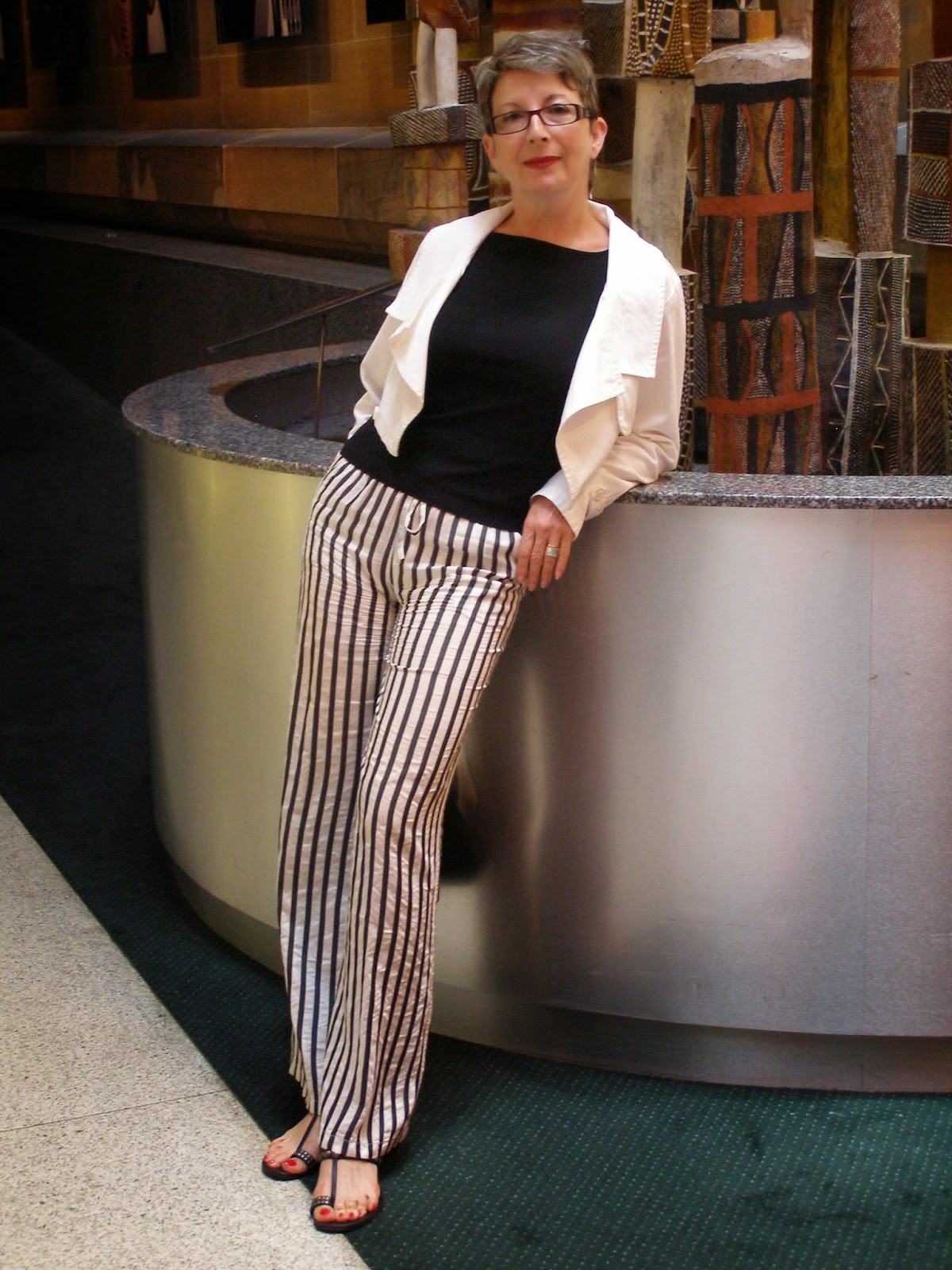 black +white stripy pants by sass + bide