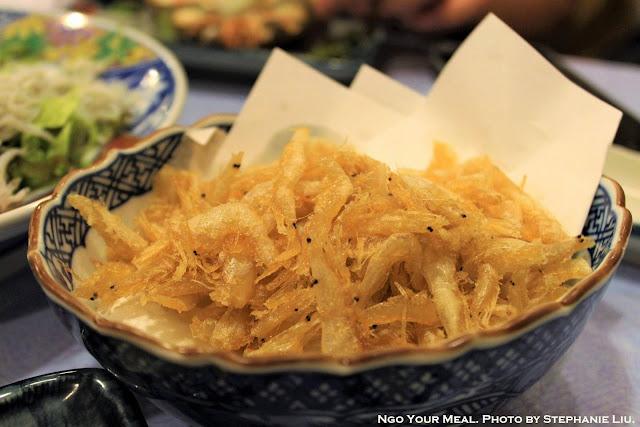 Deep-Fried White Shrimp at Isomaru Suisan in Osaka, Japan