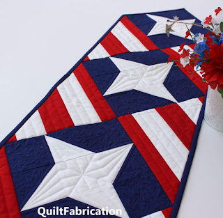 PATRIOTIC TABLE RUNNER-FOURTH OF JULY-QUILT PATTERN-BEGINNER QUILT PATTERN-RED WHITE AND BLUE