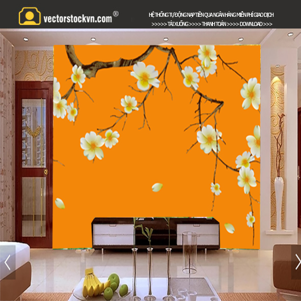 Tranh Hoa Mùa xuân màu vàng