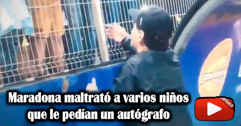 Maradona maltrató a varios niños que le pedían un autógrafo