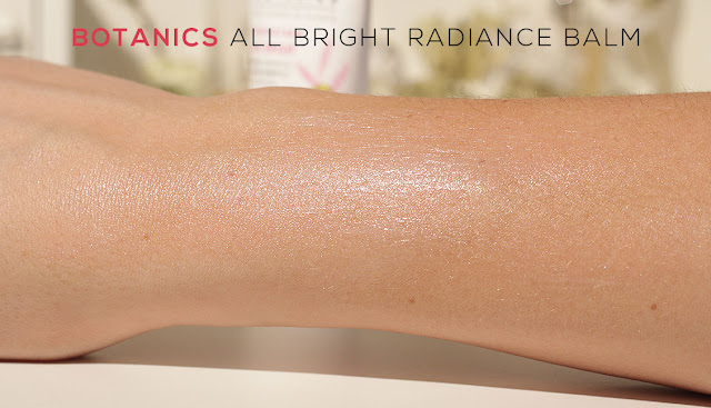 arm with swatch of Boots Botanics Radiance Balm all bright
