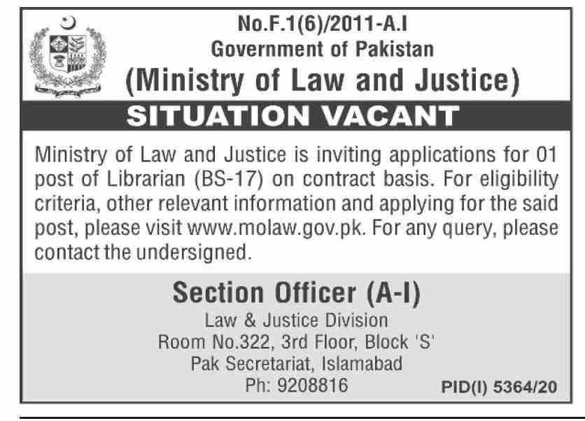 Ministry of Law & Justice Jobs 2021 in Pakistan