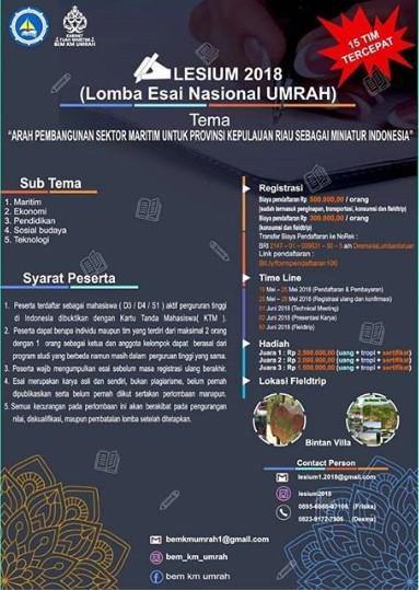 LESIUM 2018 Lomba Essay Mahasiswa Tingkat Nasional UMRAH