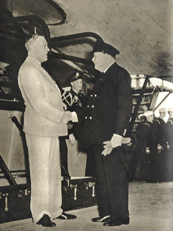 President Roosevelt says goodbye to Prime Minister Winston Churchill, 12 August 1941 worldwartwo.filminspector.com