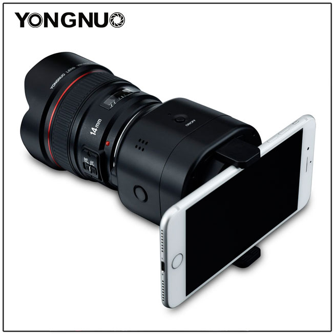 Yongnuo YN43 с объективом и смартфоном