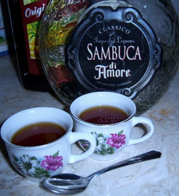 espresso filled cups of coffee and anisette liqueur