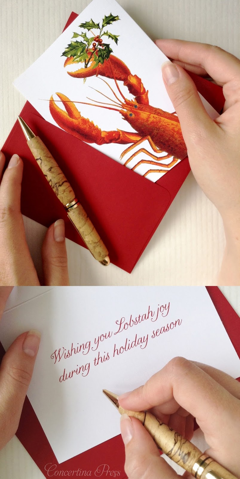 Lobster Christmas Cards from Concertina Press