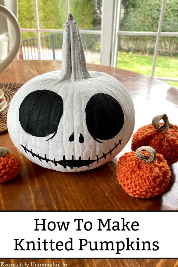 Jack Skellington Pumpkin with small orange knit pumpkins