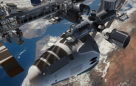 SpaceX Mars Colonial Transporter next to ISS by Nathan Koga