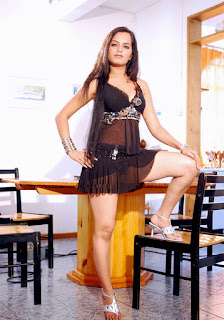 Meghna Patel aka Thaji Karaya thunder thigh and milky legs in black transparent babydoll 1