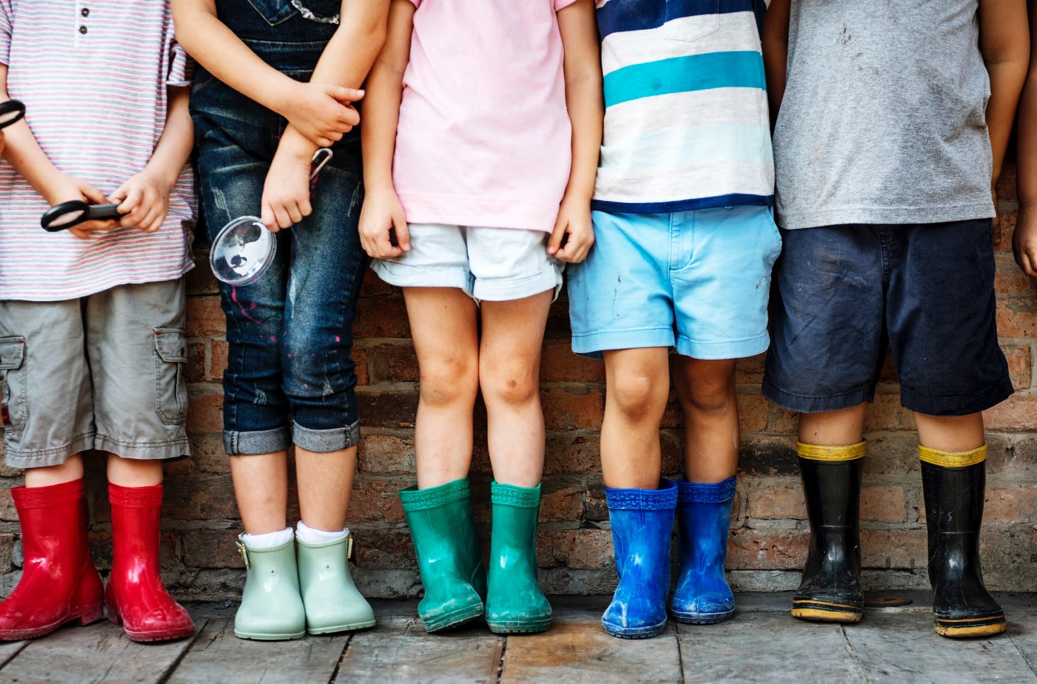 children wearing wellies