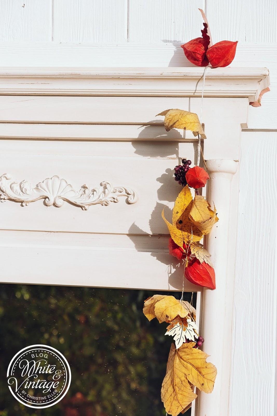 Herbstgirlande für Wandspiegel basteln.