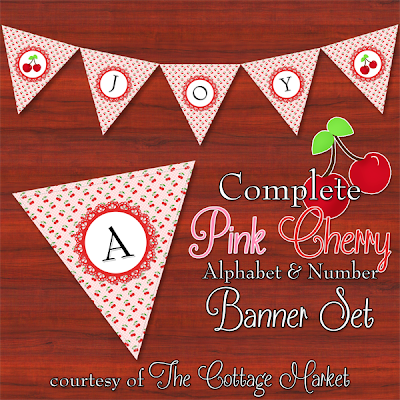 This pink cherry themed printable banner set is adorable.