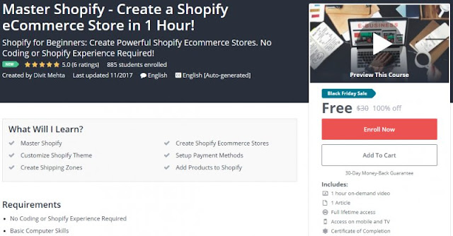 [100% Off] Master Shopify - Create a Shopify eCommerce Store in 1 Hour!| Worth 30$