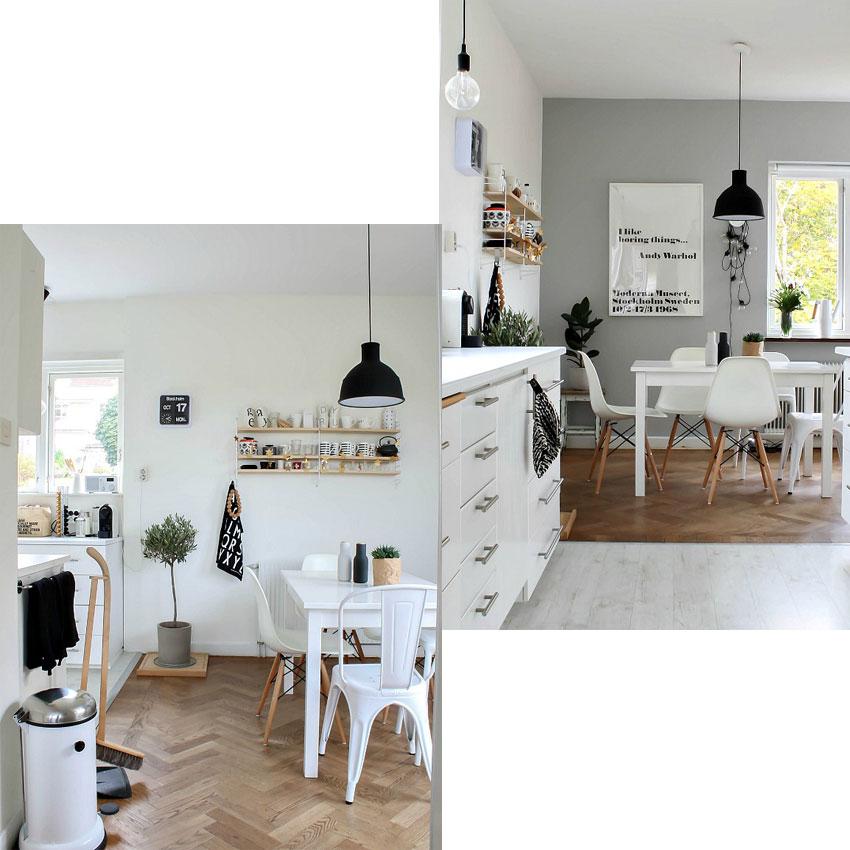 cocina decoración nórdica y blanca