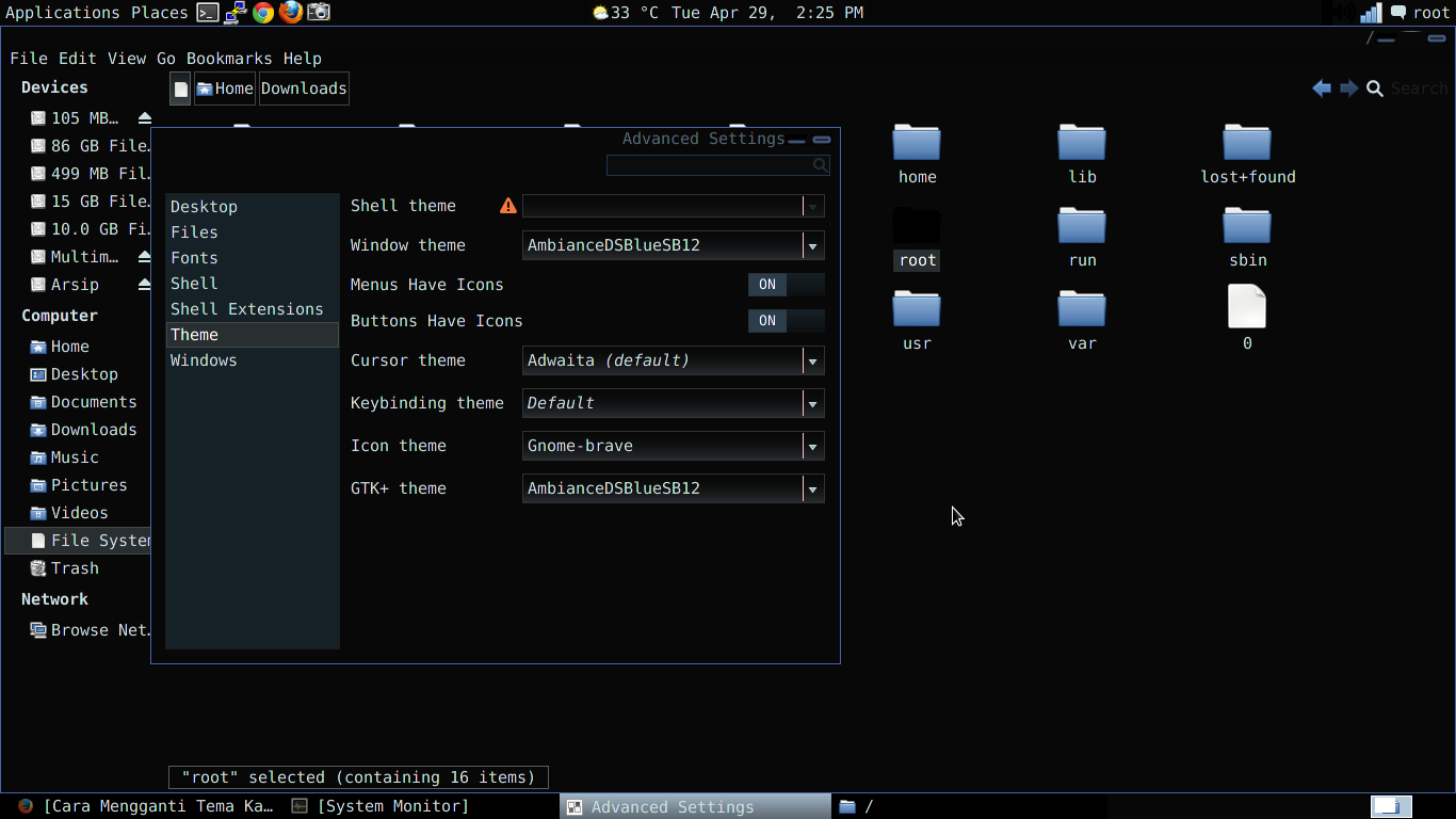 Cara Mengganti Themes di Kali Linux