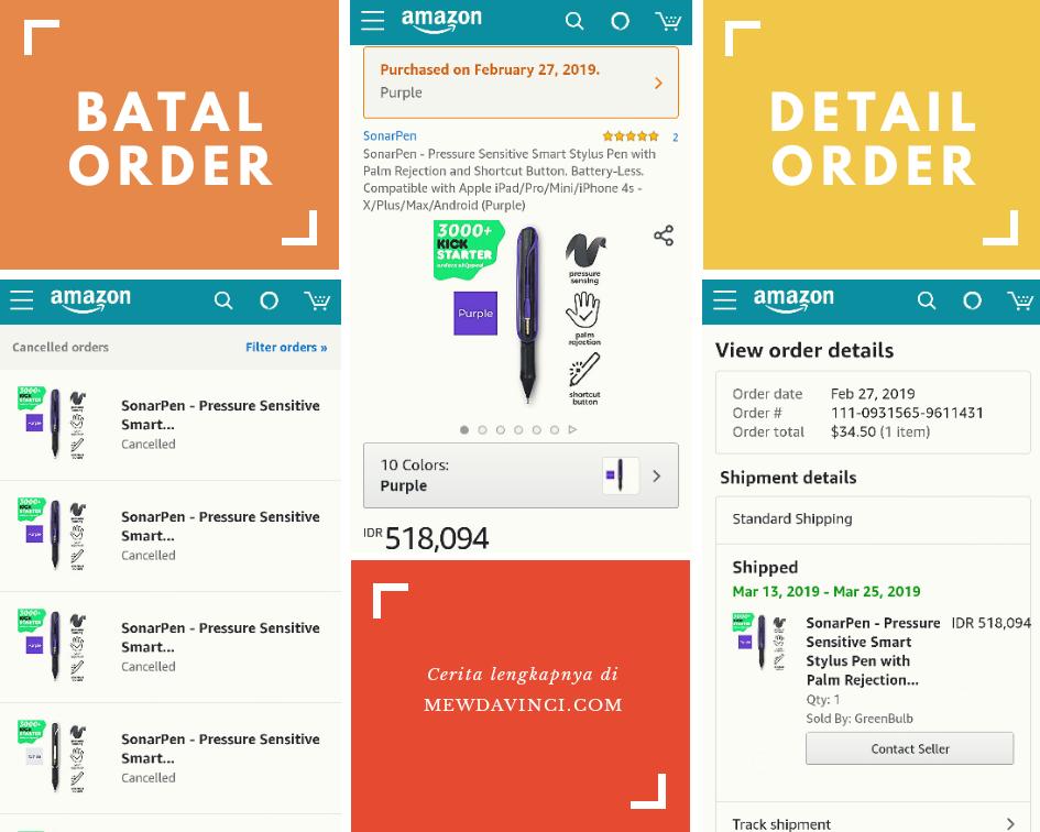daftar orderan yang dibatalkan di Amazon