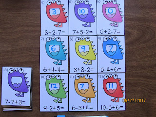 Monster Addition and Subtraction 3 Number Equations Task Cards