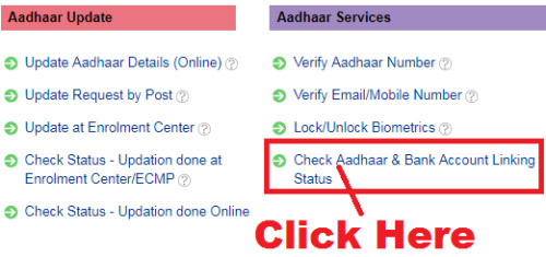 how to check aadhar card linked with sbi bank account