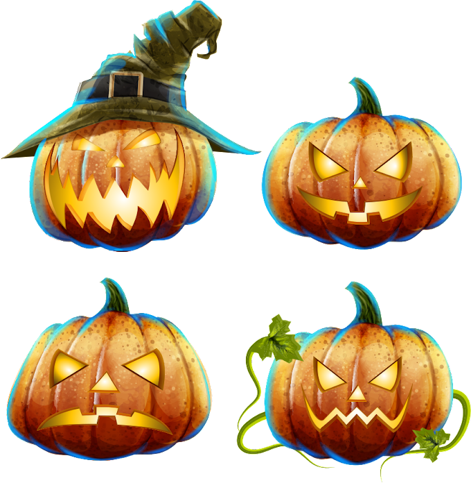 four Jack-o-lantern, Jack-o'-lantern Pumpkin Calabaza Halloween, Funny pumpkins, lantern, food png by: pngkh.com
