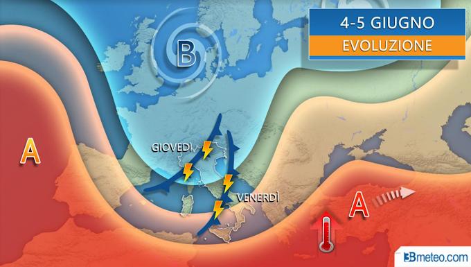 """3bmeteo: """"Estate ancora lontana: forte perturbazione tra giovedì e venerdì con pioggia, grandine e anche neve sulle Alpi"""""""