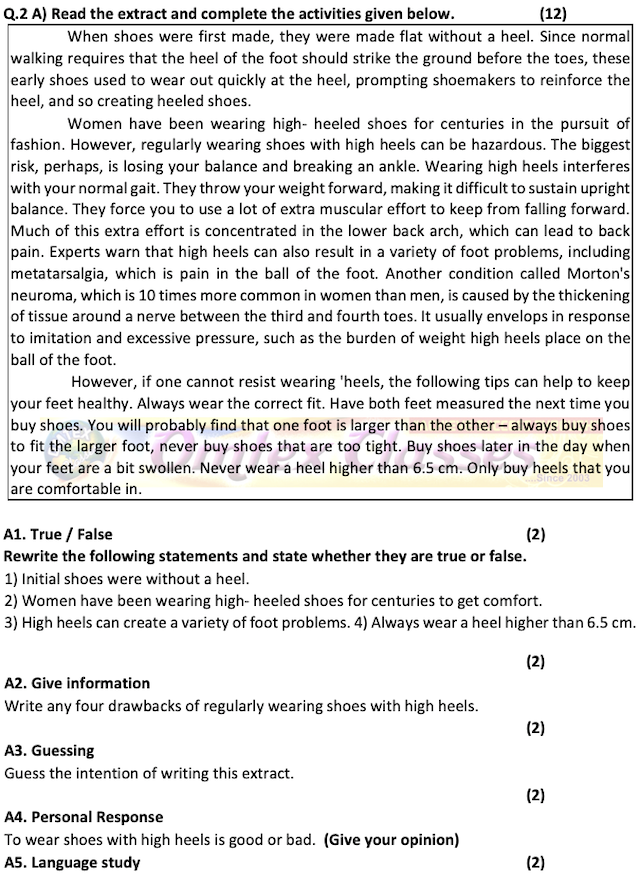 Activity Sheet No. 1 Std. XII- Activity Sheet for the Board Exam Practice