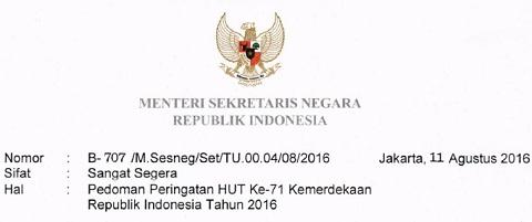 Surat Mensesneg Tentang Pedoman Peringatan HUT Ke-71 Kemerdekaan Republik Indonesia Tahun 2016
