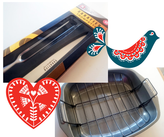 Carving knife set and baking tray