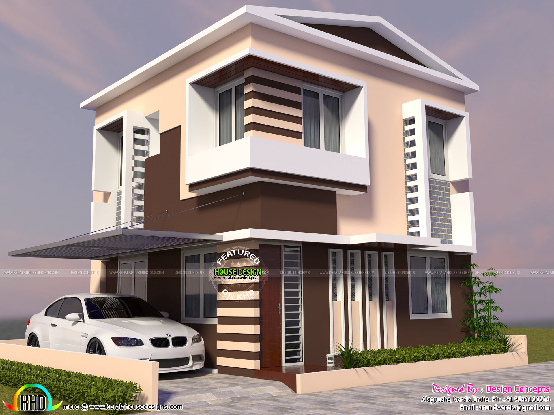 Two storied modern house in small plot kerala home for Home designs and plans