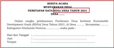 Download Format Berita Acara Musdes Penentapan Data SDGs Desa