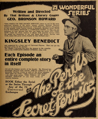 Ad for The Perils of the Secret Service, movie serial, authored by George Bronson-Howard