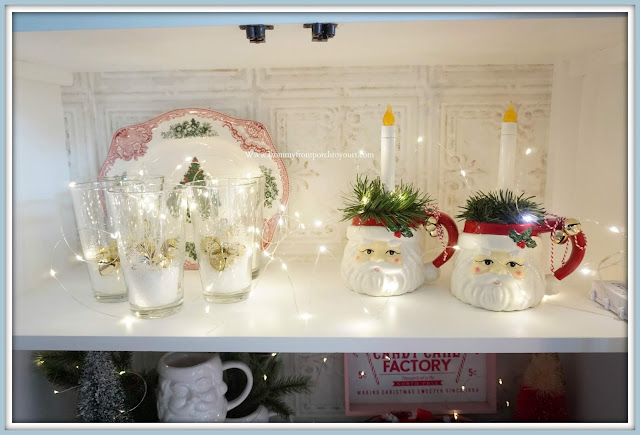French -Farmhouse -Cottage -White -Dining Room- Cabinet-Christmas -Vignettes-Vintage-Style-Santa-Mugs-From My Front Porch To Yours